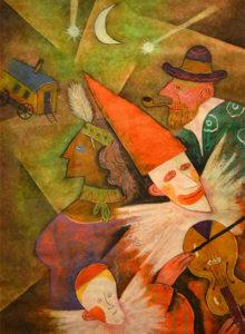 バイオリンを弾くピエロと子供